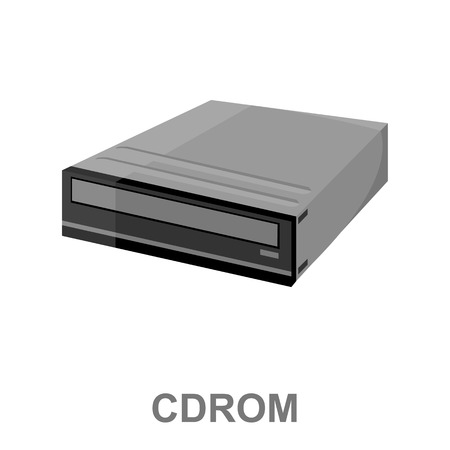 Cd rom icon cartoon. Single PC icon from the big technology collection.