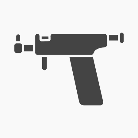 piercing: Ear piercing gun icon cartoon. Single tattoo icon from the big studio collection. Illustration