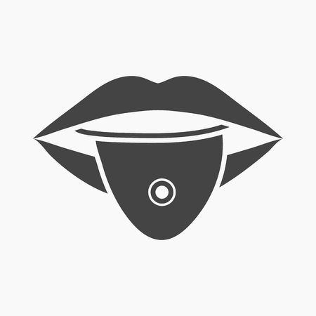 piercing: Pierced tongue icon cartoon. Single tattoo icon from the big studio collection.