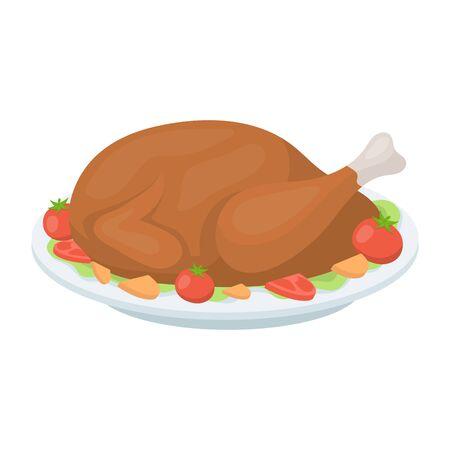 thanksgiving day symbol: icona di arrosto di tacchino in stile cartone animato isolato su sfondo bianco. Canadese illustrazione Giorno del Ringraziamento simbolo.