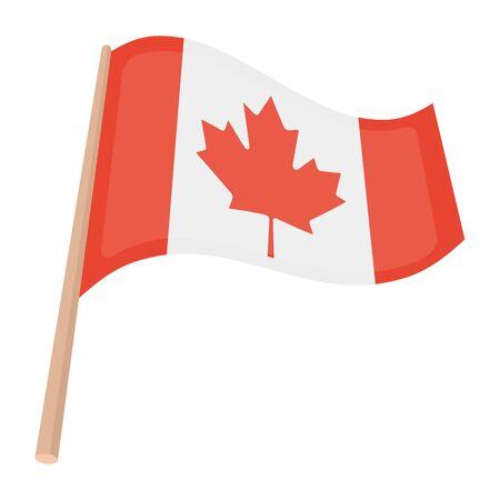 thanksgiving day symbol: icona della bandiera canadese in stile cartone animato isolato su sfondo bianco. Canadese illustrazione Giorno del Ringraziamento simbolo.