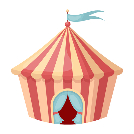 outdoor event: Circus tent icon in cartoon style isolated on white background. Circus symbol vector illustration.
