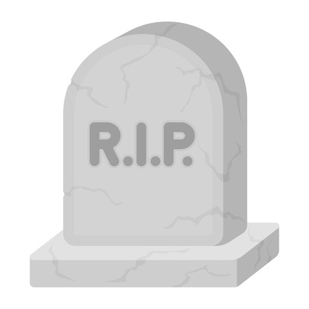 headstone: Headstone icon in cartoon style isolated on white background. Black and white magic symbol vector illustration.