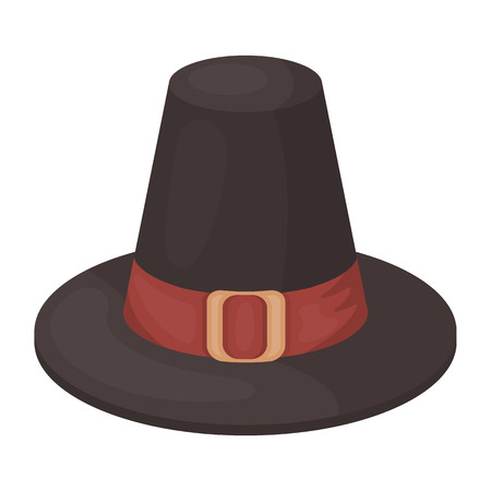 thanksgiving day symbol: Pilgrim hat icon in cartoon style isolated on white background. Canadian Thanksgiving Day symbol vector illustration.