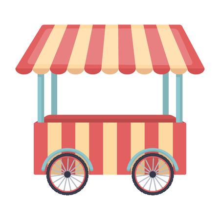 carretto gelati: Snack carrello icona in stile cartone animato isolato su sfondo bianco. Circo illustrazione simbolo.