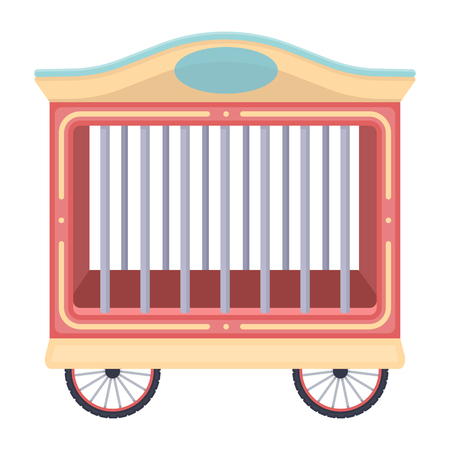 circus caravan: Circus wagon icon in cartoon style isolated on white background. Circus symbol vector illustration. Illustration