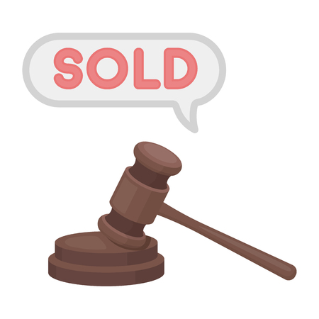 auctioneer: Auction hammer icon in cartoon style isolated on white background. E-commerce symbol vector illustration.