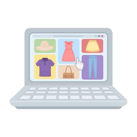 e commerce icon: Online shopping icon in cartoon style isolated on white background. E-commerce symbol vector illustration. Illustration