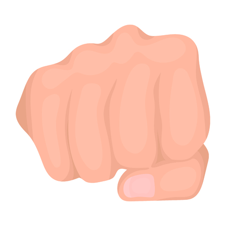 Fist bump icon in cartoon style isolated on white background. Hand gestures symbol vector illustration.