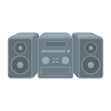 household appliance: Music center icon in cartoon style isolated on white background. Household appliance symbol vector illustration.