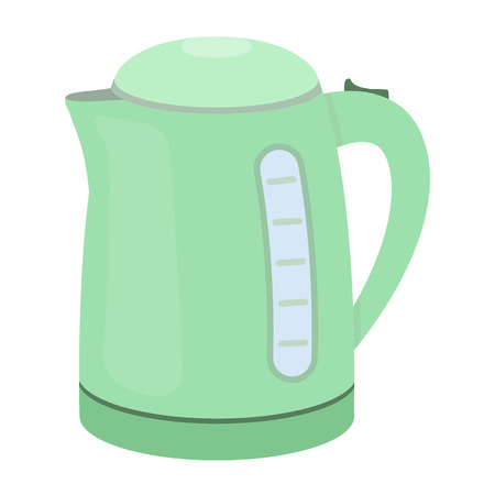 household appliance: Electrical kettle icon in cartoon style isolated on white background. Household appliance symbol vector illustration. Illustration