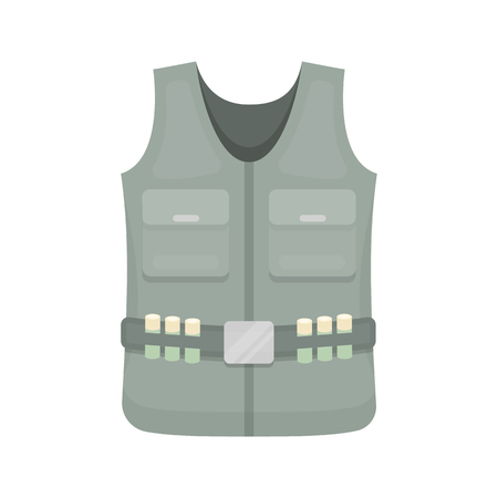 fisher: Hunting vest icon in cartoon style isolated on white background. Hunting symbol vector illustration.