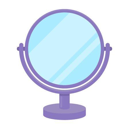 漫画のスタイルの白い背景で隔離のミラーのアイコン。シンボル ベクトル図を確認します。