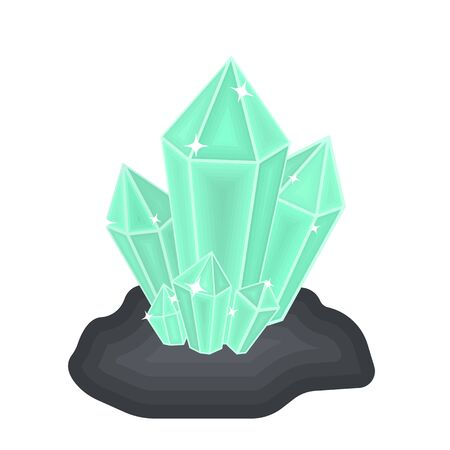 priceless: Crystals icon in cartoon style isolated on white background. Mine symbol vector illustration.