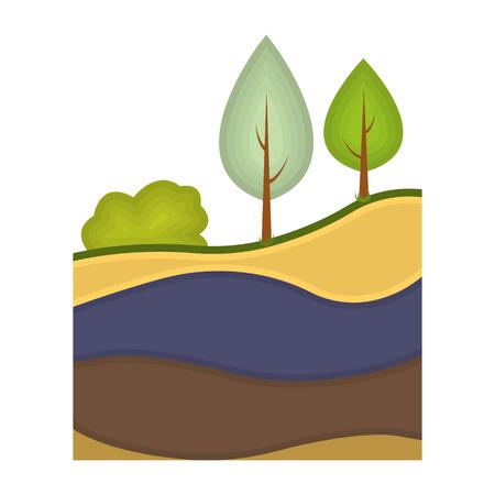 Les couches de l'icône de la terre dans le style de dessin animé isolé sur fond blanc. L'illustration vectorielle du symbole de la mine.