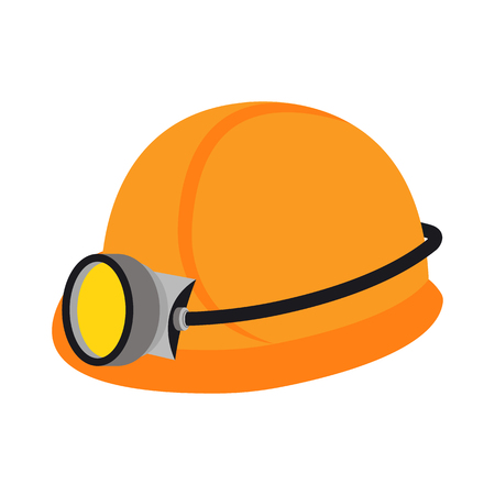 the miners: Miners helmet icon in cartoon style isolated on white background. Mine symbol vector illustration.