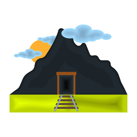 Mine icon in cartoon style isolated on white background. Mine symbol vector illustration.