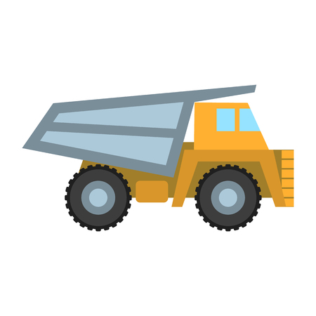 haul: Haul truck icon in cartoon style isolated on white background. Mine symbol vector illustration.
