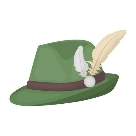 漫画のスタイルの白い背景で隔離のチロル帽子アイコン。オクトーバーフェスト シンボル ベクトル イラスト。  イラスト・ベクター素材