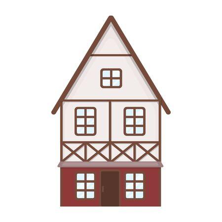 fachwerk: Bavarian house icon in cartoon style isolated on white background. Oktoberfest symbol vector illustration. Illustration