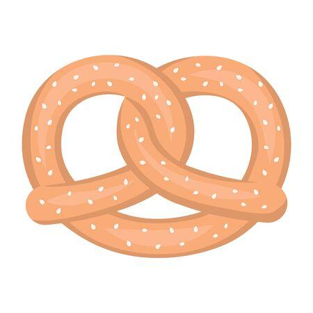 bretzel: Pretzel icon in cartoon style isolated on white background. Oktoberfest symbol vector illustration.