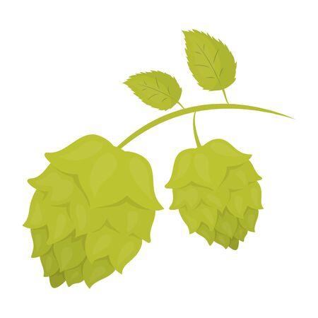 Hops icon in cartoon style isolated on white background. Oktoberfest symbol vector illustration. Illustration