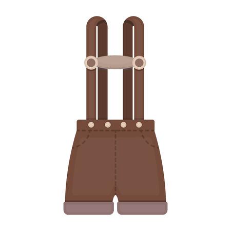 lederhosen: Lederhosen icon in cartoon style isolated on white background. Oktoberfest symbol vector illustration.