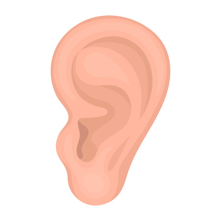 Ear icon in cartoon style isolated on white background. Part of body symbol vector illustration.  イラスト・ベクター素材