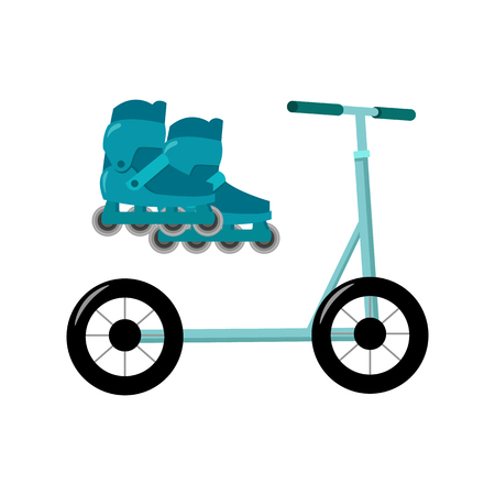 inline: Inline skates and scooter icon in cartoon style isolated on white background. Play garden symbol vector illustration.