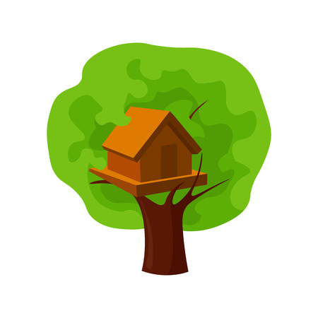 front or back yard: Tree house icon in cartoon style isolated on white background. Play garden symbol vector illustration. Illustration