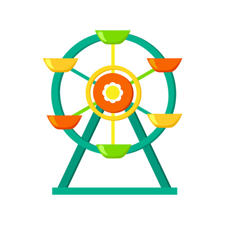 Ferris wheel icon in cartoon style isolated on white background. Play garden symbol vector illustration. Illustration