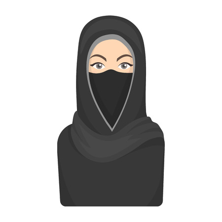 niqab: Niqab icon in cartoon style isolated on white background. Religion symbol vector illustration.