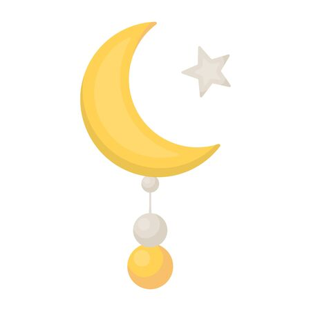 Crescent and Star icon in cartoon style isolated on white background. Religion symbol vector illustration. Illustration