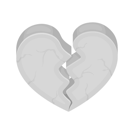 miserable: Heart icon in cartoon style isolated on white background. Romantic symbol vector illustration. Illustration