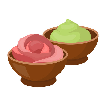 Wasabi and ginger icon in cartoon style isolated on white background. Sushi symbol vector illustration. Vettoriali