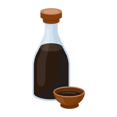 Soy sauce icon in cartoon style isolated on white background. Sushi symbol vector illustration.