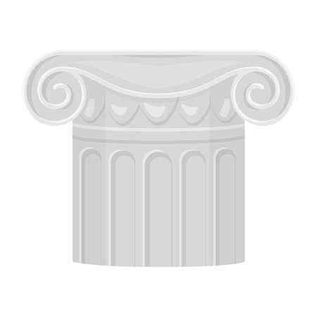 architectural styles: Column icon in cartoon style isolated on white background. Theater symbol vector illustration