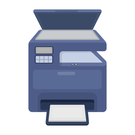 multifunction printer: Multi-function printer in cartoon style isolated on white background. Typography symbol vector illustration.