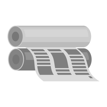 prepress: Newspaper printing machine in cartoon style isolated on white background. Typography symbol vector illustration.