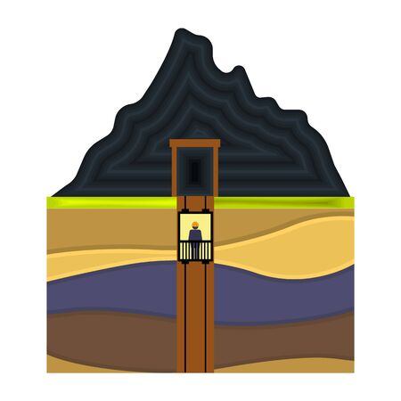 industrial complex: Mine shaft icon in cartoon style isolated on white background. Mine symbol vector illustration. Illustration