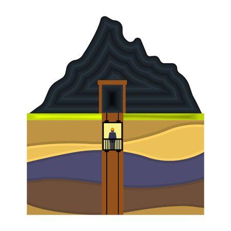 shaft: Mine shaft icon in cartoon style isolated on white background. Mine symbol vector illustration. Illustration