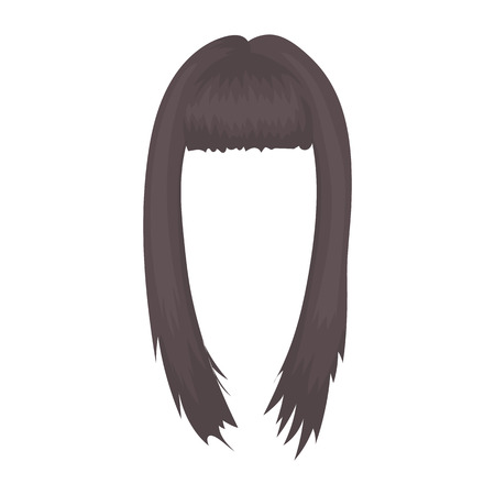 pretty hair: Womans hairstyle icon in cartoon style isolated on white background. Beard symbol vector illustration.