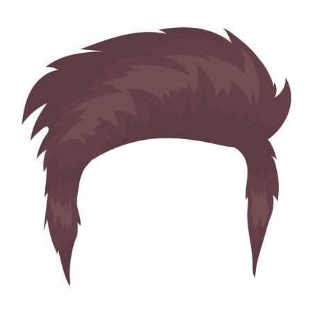 Mans hairstyle icon in cartoon style isolated on white background. Beard symbol vector illustration. Illustration