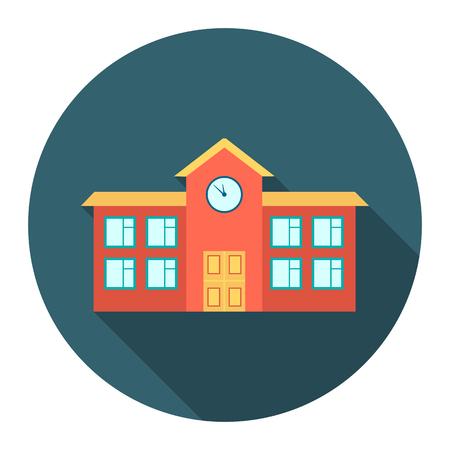 学校アイコン漫画。大都市インフラのコレクションから 1 つの建物のアイコン。
