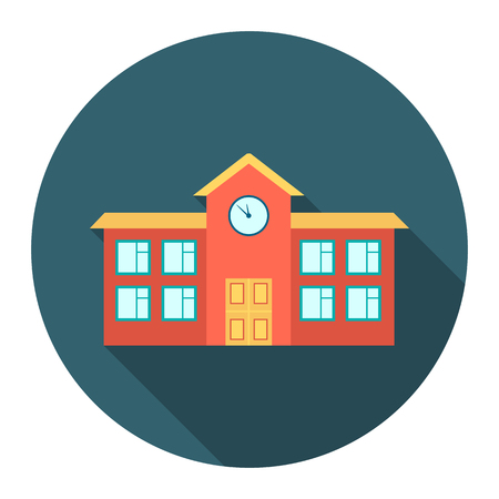 School icon cartoon. Single building icon from the big city infrastructure collection.