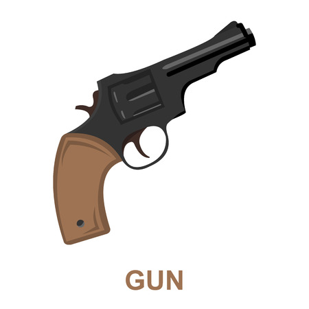 six gun: Revolver icon cartoon. Singe western icon from the wild west collection. Illustration