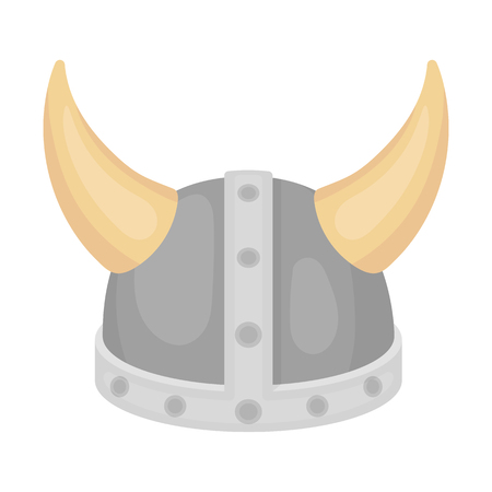 norseman: Viking helmet icon in cartoon style isolated on white background. Hats symbol vector illustration.
