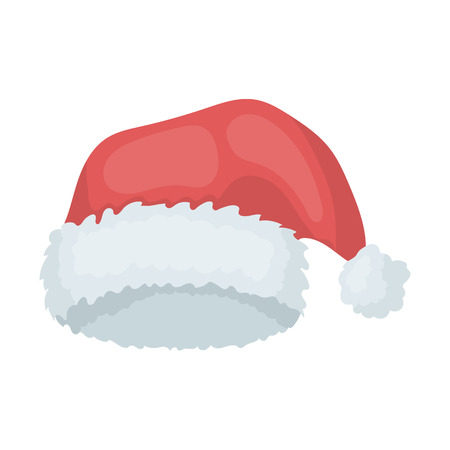 fur cap: Christmas cap icon in cartoon style isolated on white background. Hats symbol vector illustration.