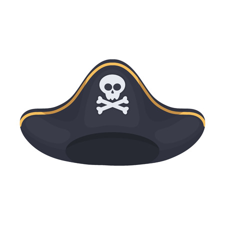 tricorne: Pirate hat icon in cartoon style isolated on white background. Hats symbol vector illustration.