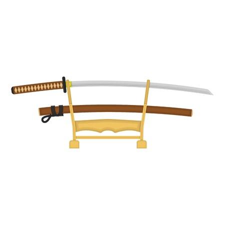 katana: Katana icon in cartoon style isolated on white background. Japan symbol vector illustration.